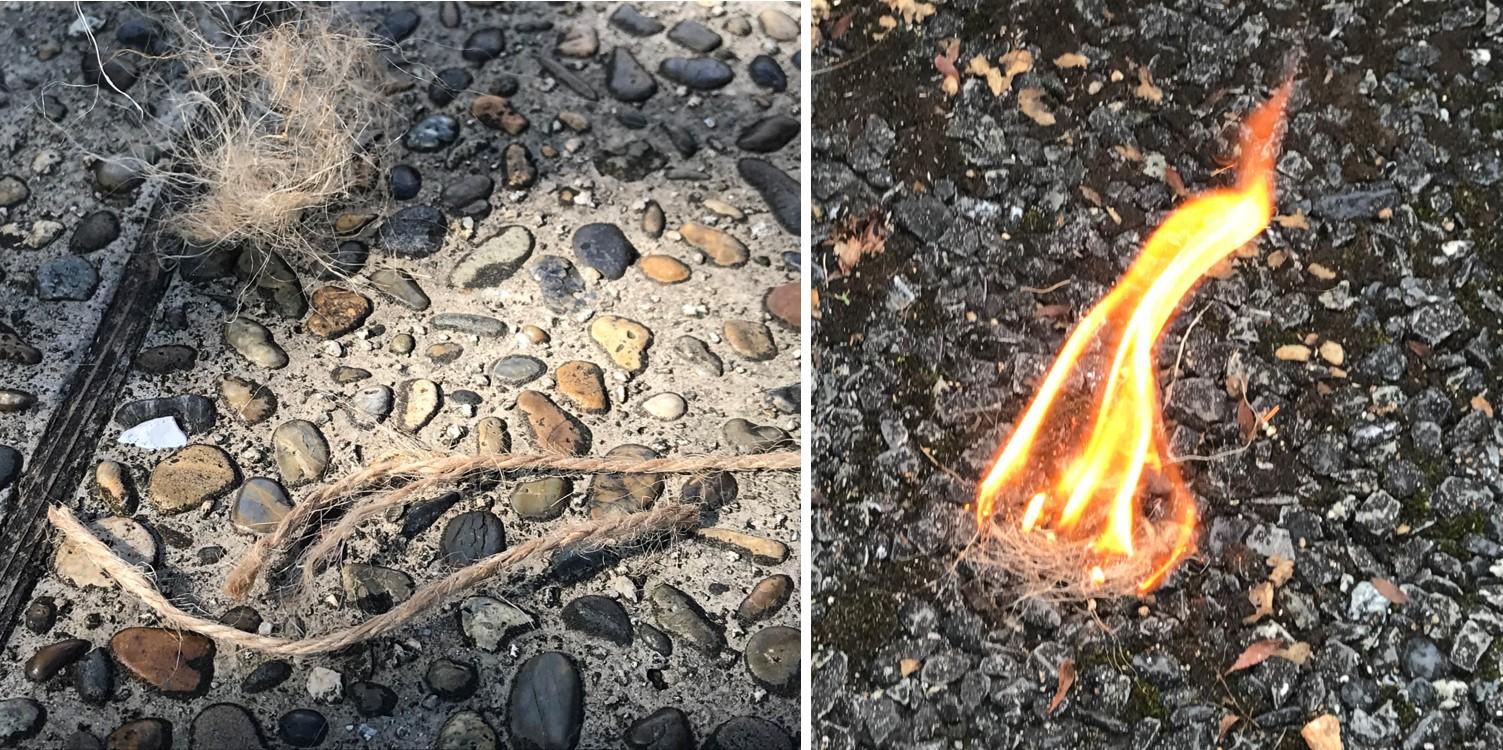 麻紐 キャンプ 火起こし