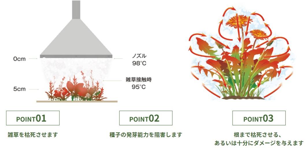 """<p>殺草処理に直接作用するのは、熱湯の""""熱エネルギー""""です。<br /> 泡は熱湯の上に断熱層として機能し放熱を防ぎます。</p>"""